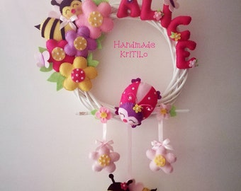 Spring summer Alice birth garland with ladybug, bees and many Handmade flowers KriTiLo