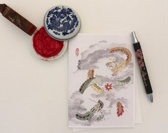 Blank Cards, Pack of 5 with Envelopes, Dragons, Any Occasion, Sumi-e, Chinese Watercolor, Print