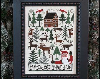 CARDSTOCK PRINTING Reindeer Roundup Book No. 182 Prairie Schooler cross stitch patterns Christmas Santa Claus December Winter holidays