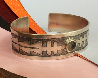 Silver Bangle- Handmade Sterling Silver Cuff  - Tourmaline Bangle - Oxidised Silver - Tribal Jewellery - Aztec design