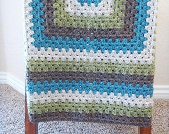 Crochet Baby Blanket for Boys - Crochet Granny Square Blanket - Baby Shower Gift for Boy - Hand Made Baby Blanket - Crochet Lap Blanket