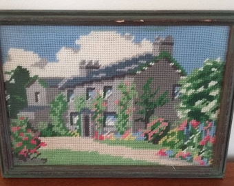 Vintage Tapestry of a House Cottage