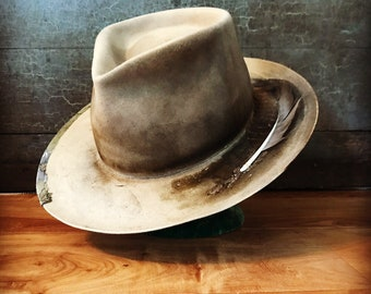 One of a kind hat, handmade custom hat wide brim fedora hat