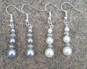 Glass & Metal Bead Dangle Earrings, Beaded Drop Earrings, Bridal Earrings, Bridesmaids Earrings, Women's Bead Earrings, Women's Bead Jewelry