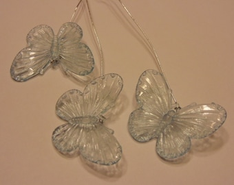 3 light blue translucent butterfly's on wire, 30 x 40 mm (R2)