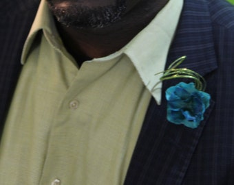 "Blue and Teal Men's Lapel Pin with Teal Shimmer swirl detail ""Alexander"""