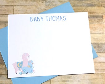 Personalized Baby Alpaca Baby Shower Flat Cards - Thank You Note - Mama Llama and baby Cards - Pink and Blue Shower - Llama lama - Set of 10