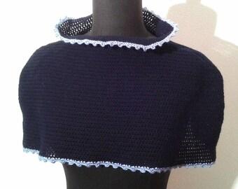 Blue Wool Capelet Pattern, Wool Cape, Wool Capelet