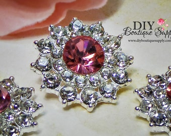 PINK Crystal buttons PINK Rhinestone buttons Metal Embellishments Bridal supplies invitations hair bow centers flowers centers  24mm 703031