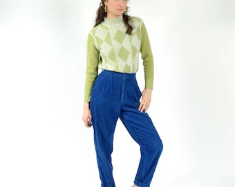 """80s Cobalt Blue Corduroy Trousers by ESPRIT / High Rise Tapered Leg / waist 26"""""""