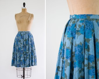 vintage 1950s skirt | blue rose skirt| full pleated circle skirt | 50s floral cotton skirt