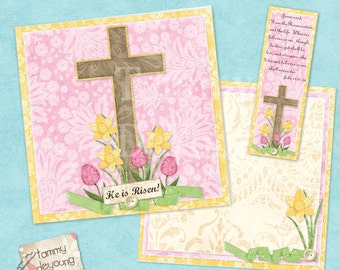 Digital Easter Religious Card, Printable Resurrection handmade card with cross, envelope and bookmark gift