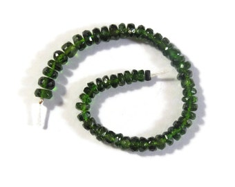 Chrome Diopside Gemstone Beads, Faceted Green Rondelles, 4 Inch Strand, Jewelry Supplies, 3mm-3.5mm or 3.5mm-4mm (Luxe-Cd1b)