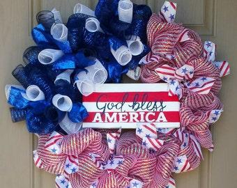 God Bless America Wreath, Memorial Day Wreath, July 4th Wreath, Patriotic Wreath, Front Door Summer Wreath