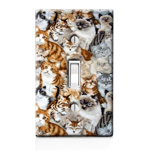 Lots Of Cats Kitten Pattern Light Switch Cover. Crazy Cat Lady, Wall Art,