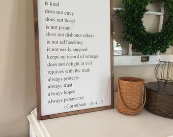 Love is wood sign / corinthians 13:4-7/ farmhouse sign/ scripture sign / home decor/ farmhouse sign  / fixer upper / wedding gift