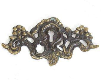 Keyhole frame Escutcheon, Antique Brass Key hole cover, plate, floral. Victorian, art nouveau furniture hardware. Jugendstil #6B0G63KA