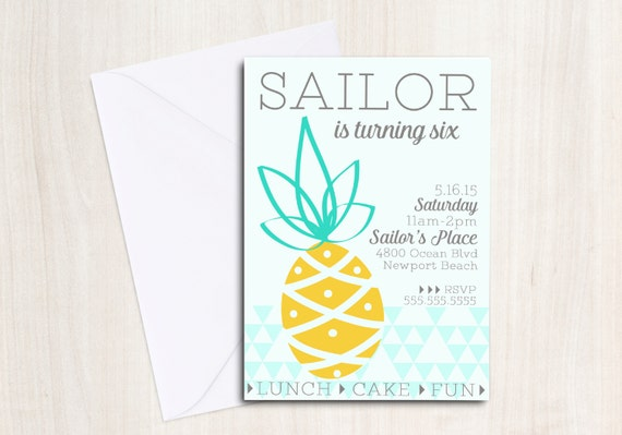 PINEAPPLE Party Birthday Invite - PINEAPPLE Party Invitation - Beach Party  - Party Supplies