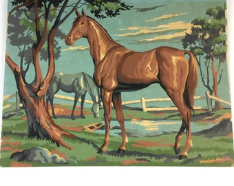 Vintage Paint by number HORSE print 1950s- wall decor painting -western -animals -farm -print -equistrian -