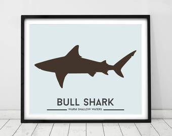 Shark Decor, Bull Shark, Toddler Wall Art, Ocean Decor, Animal Decor,