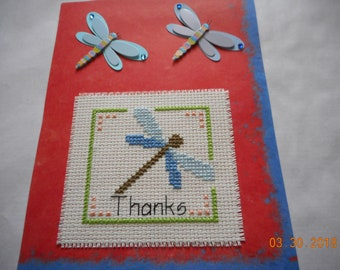 Thank You Card,DRAGONFLY THANKS,hand made card, cross stitch card