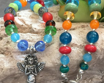 FAITH ANGEL, artisan lampwork, pewter, and sterling silver neckalce