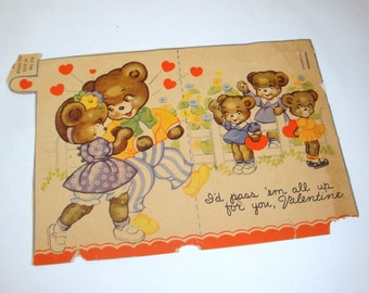 Vintage Valentine Day's Card, Bears, Hearts, Mid Century  (3080)