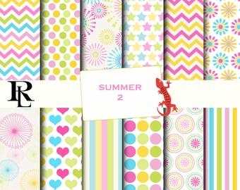 Summer Digital Paper - Digital Background - Paper background - yellow  paper - pink paper pack - green digital paper- flower digital paper