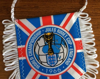 1966 vintage world cup football championship jules rimet england pennant hanging souvenir; genuine n.o.s. from organiser of wembley stalls!