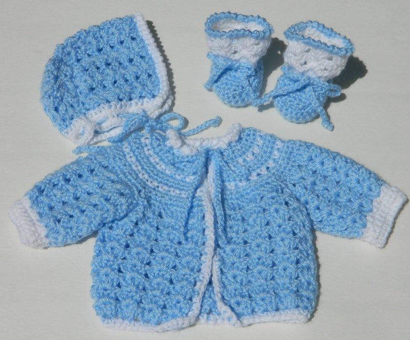 Crochet Baby Sweater Bonnet & Booties PDF Pattern 714
