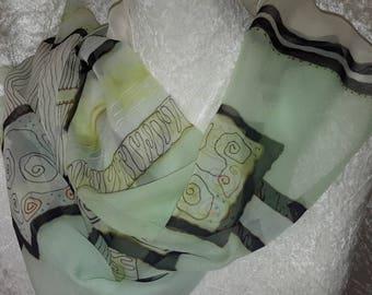 chiffon scarf water Green Black hand-painted silk