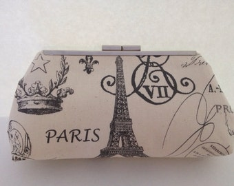 Paris Clutch Purse, Natural/Gray, Eiffel Tower, Fleur De Lis, Paris Influenced, Unique handmade Clutch, Handmade