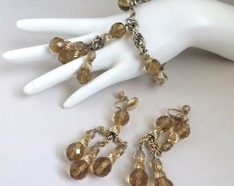 Eisenberg Jewelry, Vintage Bracelet, Earrings, Crystal Jewelry, Amber Bracelet, Screwback Earrings, Signed Designer Jewelry Set, Unique Gift