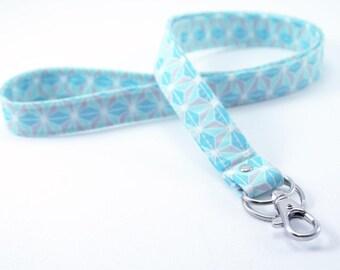 Lanyard . ID Badge holder. Blue geometric stars. cotton fabric. Key strap. usb holder . Gift . Breakaway Lanyard