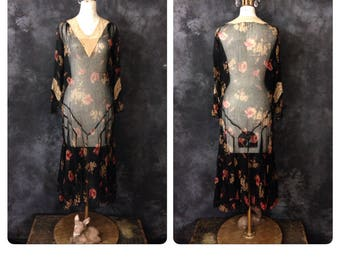 1930's black floral silk chiffon dress AS IS