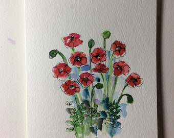 Red Poppies Watercolor Card / Hand Painted Watercolor Card