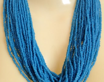 Striking Beaded Necklace Tribal Multi Strand Naga Glass Beads 40 Strands Turquoise Beads