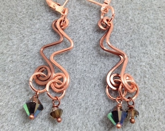 Hand formed and hammered copper wire earrings