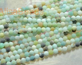 Amazonite,matte round,beads,4mm,15 inches