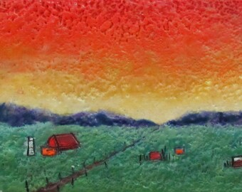 Original Painting Encaustic Art -  Country Landscape - Small Painting - Highly Textured - KLynnsArt
