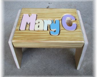 "PINE Name Puzzle Stool  (""FREE"" Shipping) (Put Child's Name in Notes to Seller on Checkout Page)"