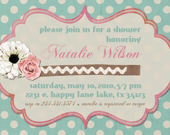 Bridal Shower Einladung oder Baby-Duscheeinladung--Shabby Chic