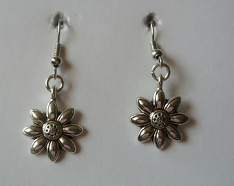 Silver Sunflower with Silver Fishhook