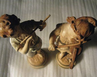 Vintage Set of Two 1960's KOSSOWSKI  Pottery Statues Feat. Musicians