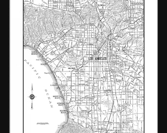 Los Angeles Street Map - Vintage Map - Los Angeles - White - Print - Poster