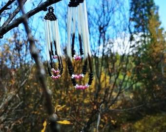 Beaded porcupine dangles/ native american handmade beaded earrings(black,pink and silver)