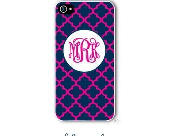 Personalized iPhone Case Custom Monogram Case iPhone 4 5 5s 5c 6 6s 6 Plus, Samsung Galaxy S4 S5 S6 Tough Phone Moroccan Trellis Style 250a