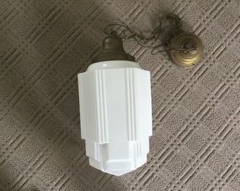 Vintage  Large Art Deco SkyScraper Dropped Ceiling Light Fixture with Milk Glass Shade