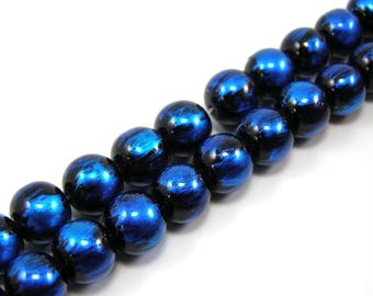 Set of 20 glossy 10 mm blue glass beads