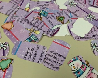 Mason Jar Shaped Confetti from Old Christmas Recipe Cards Over 150 Punches -- Rippy Bits by TangoBrat